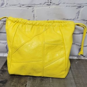 Vintage 80s Yellow Leather Clutch